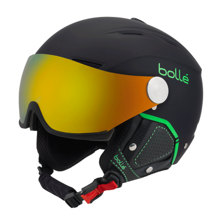 CASQUE DE SKI/SNOW BOLLE BACKLINE VISOR PREMIUM SOFT BLACK & GREEN 2019 A PRIX DISCOUNT